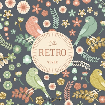 Retro birds and flowers card
