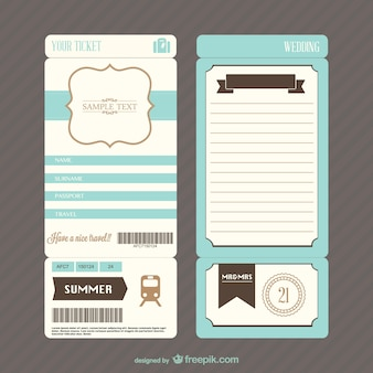 Retro boarding pass ticket wedding invitation