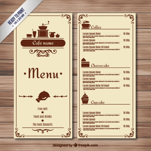 Retro cafe menu