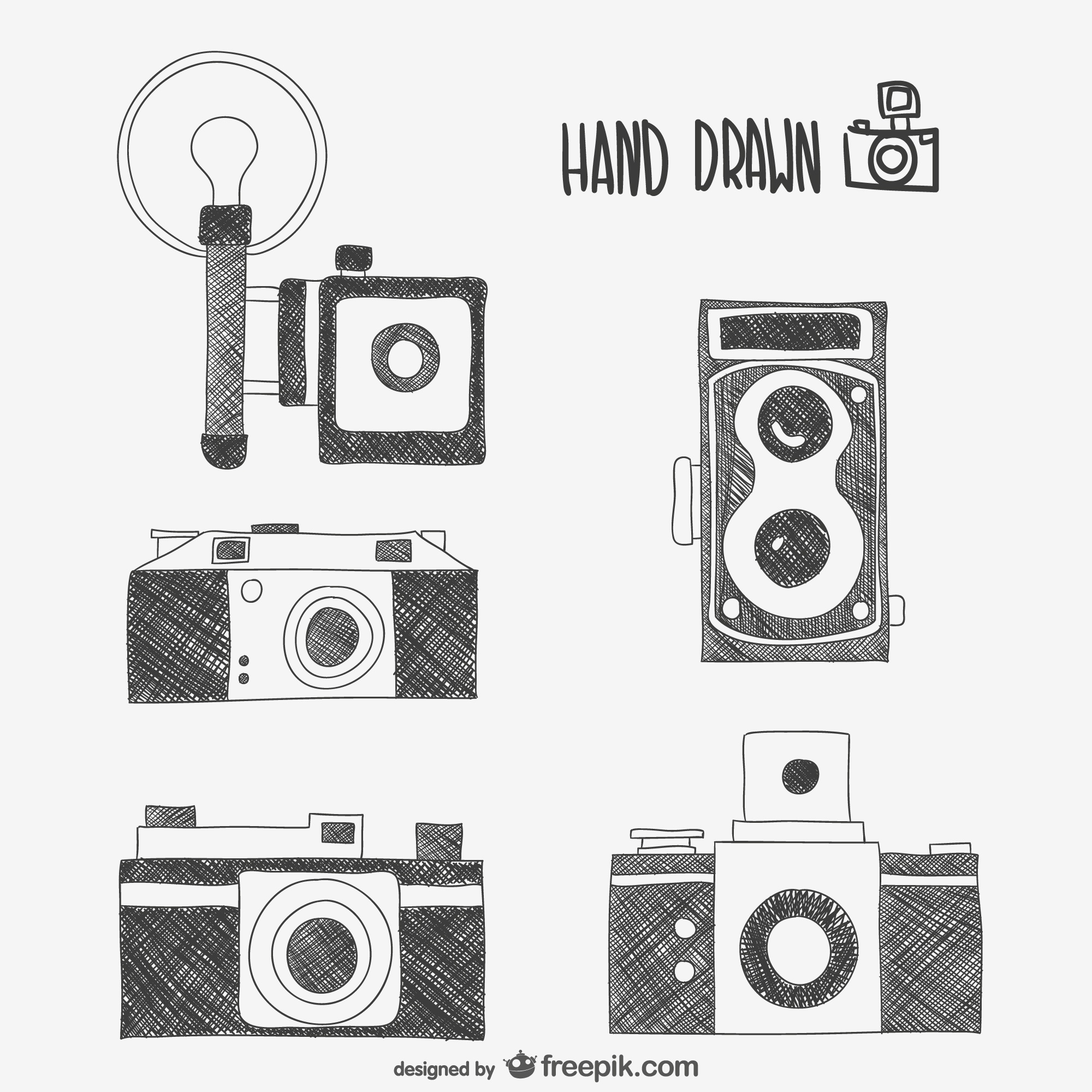 Retro cameras drawings