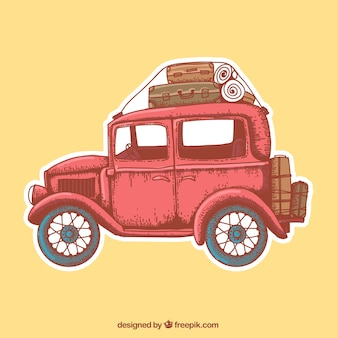 Retro car with bagagge
