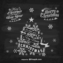Retro Christmas greeting labels