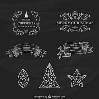 Retro Christmas labels collection