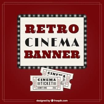Retro cinema banner and tickets