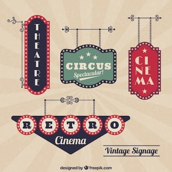 Retro cinema banners