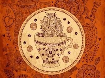 Retro coffee pattern background vector set