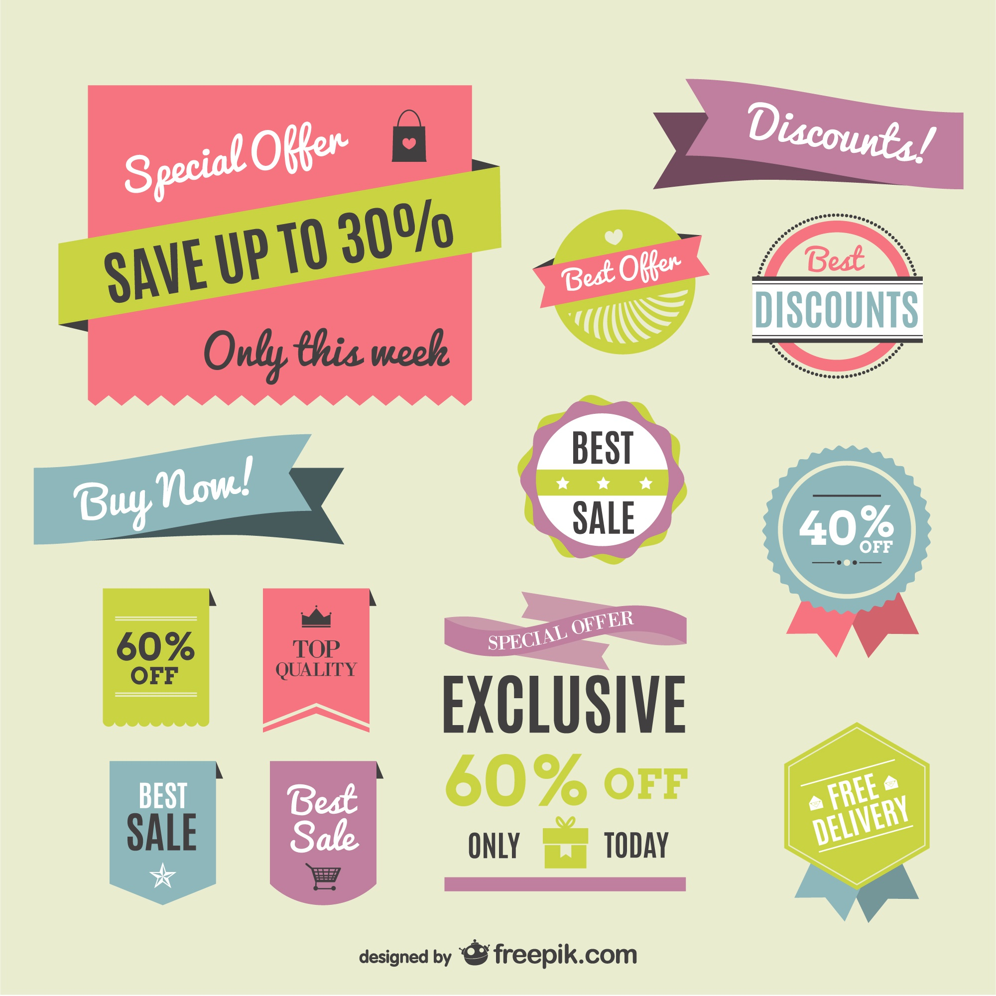 Retro colorful shopping labels