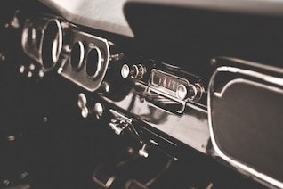 Retro dashboard in black and white