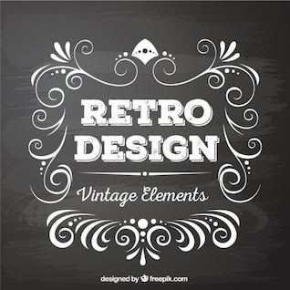 Retro design elements in blackboard style
