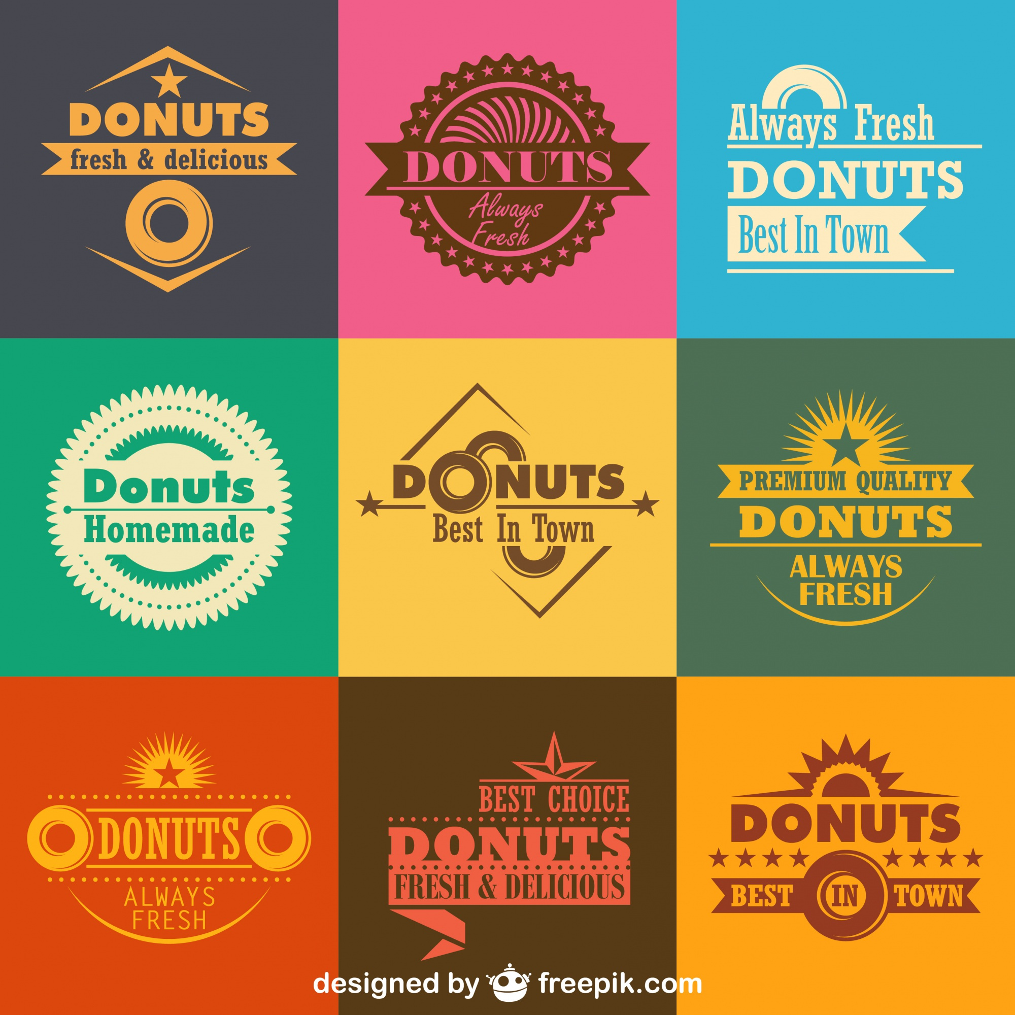 Retro Donuts Logos and Badges Collection
