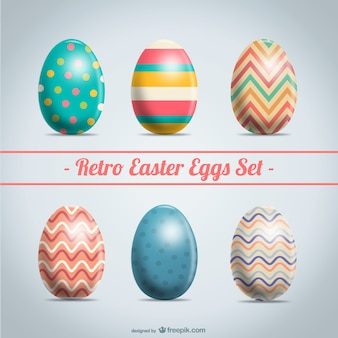Retro Easter eggs set