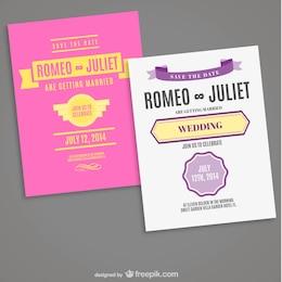 Retro editable typogaphic wedding card