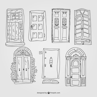 Retro entrance door vector