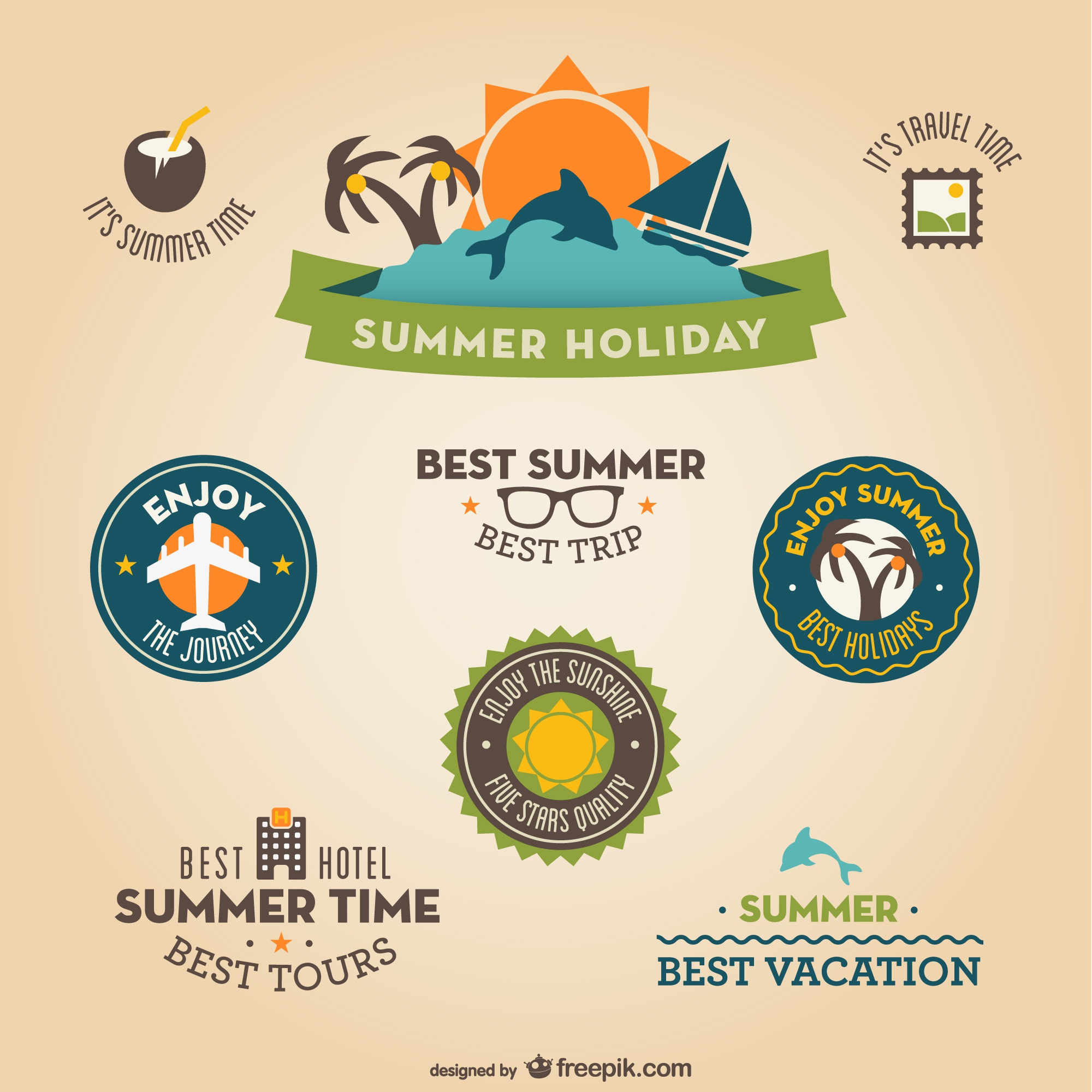 Retro flat vacation badges