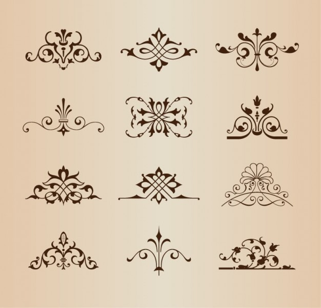 Retro floral ornaments vector set
