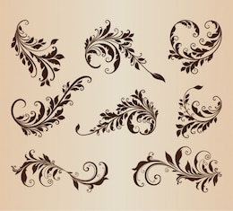 Retro floral shapes vector set