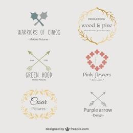 Retro floral template logos