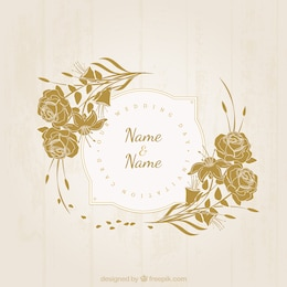 Retro floral wedding invitation