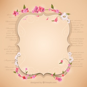 Retro frame with flowers