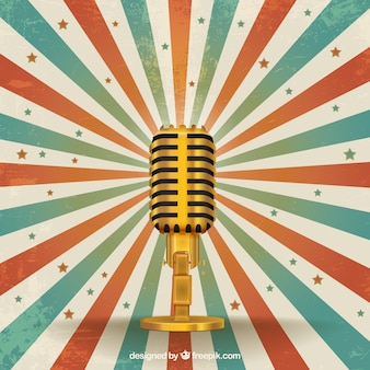 Retro golden microphone
