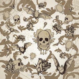 Retro halloween background in ornamental style