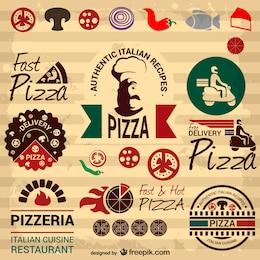 Retro Italian pizza graphic elements