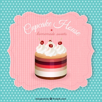 Retro label with a cupcake