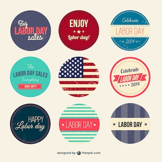 Retro Labor Day badges set