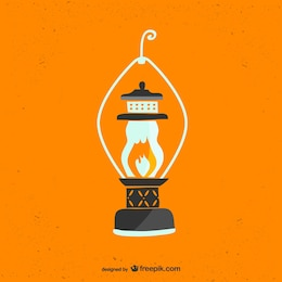 Retro lantern free vector art