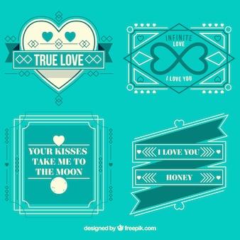 Retro love badges in romantic style