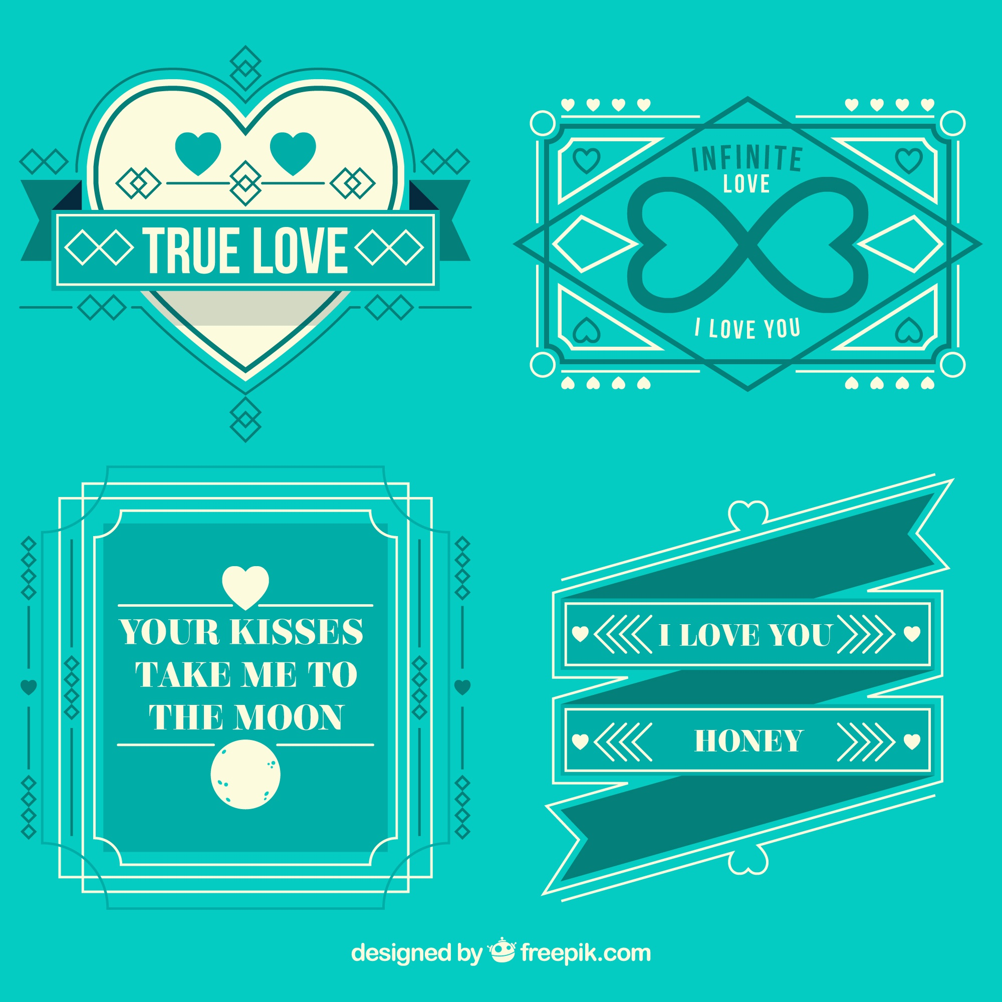 Retro love badges in romantic style