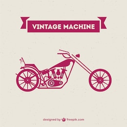 Retro motorcycle machine free vector