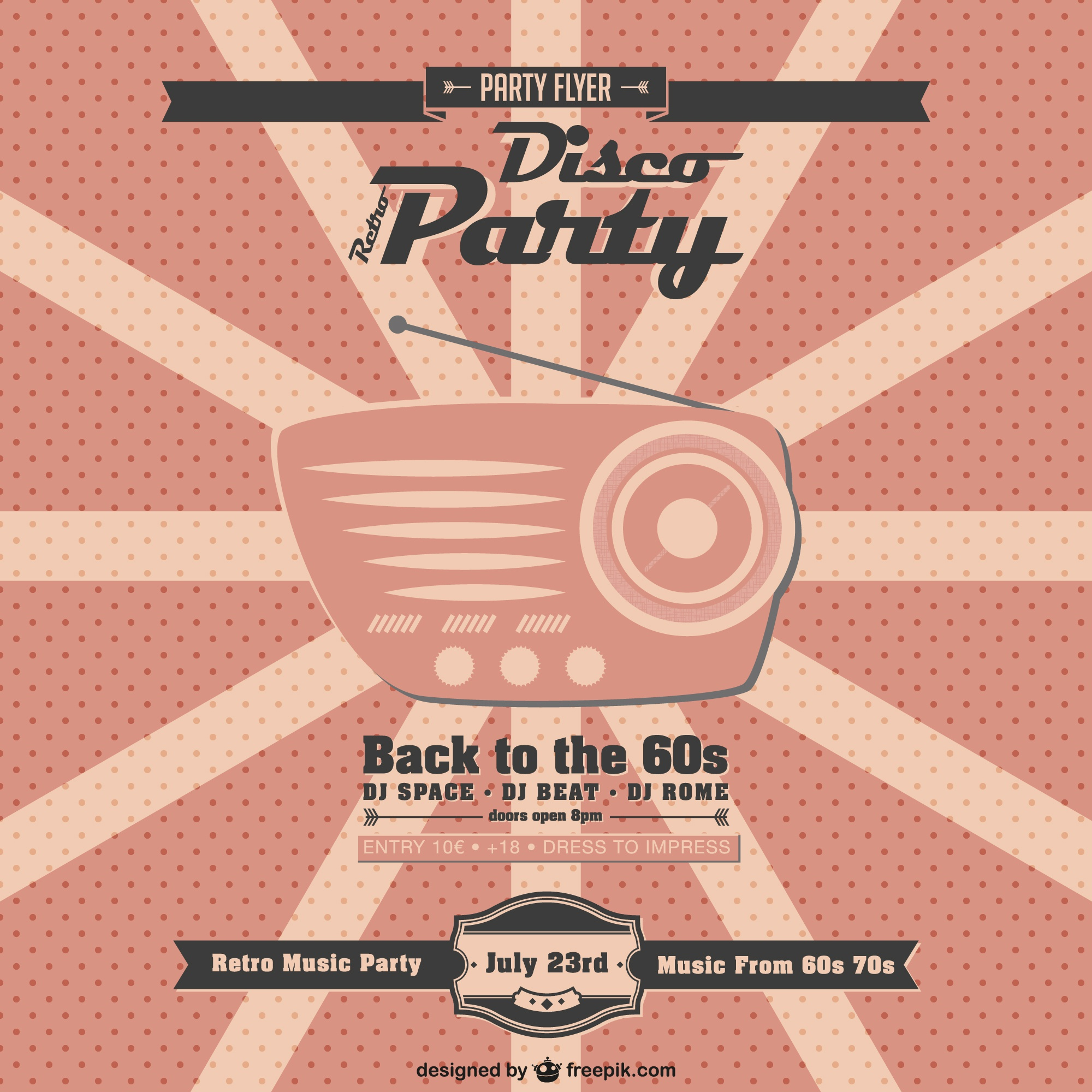 Retro music party vector