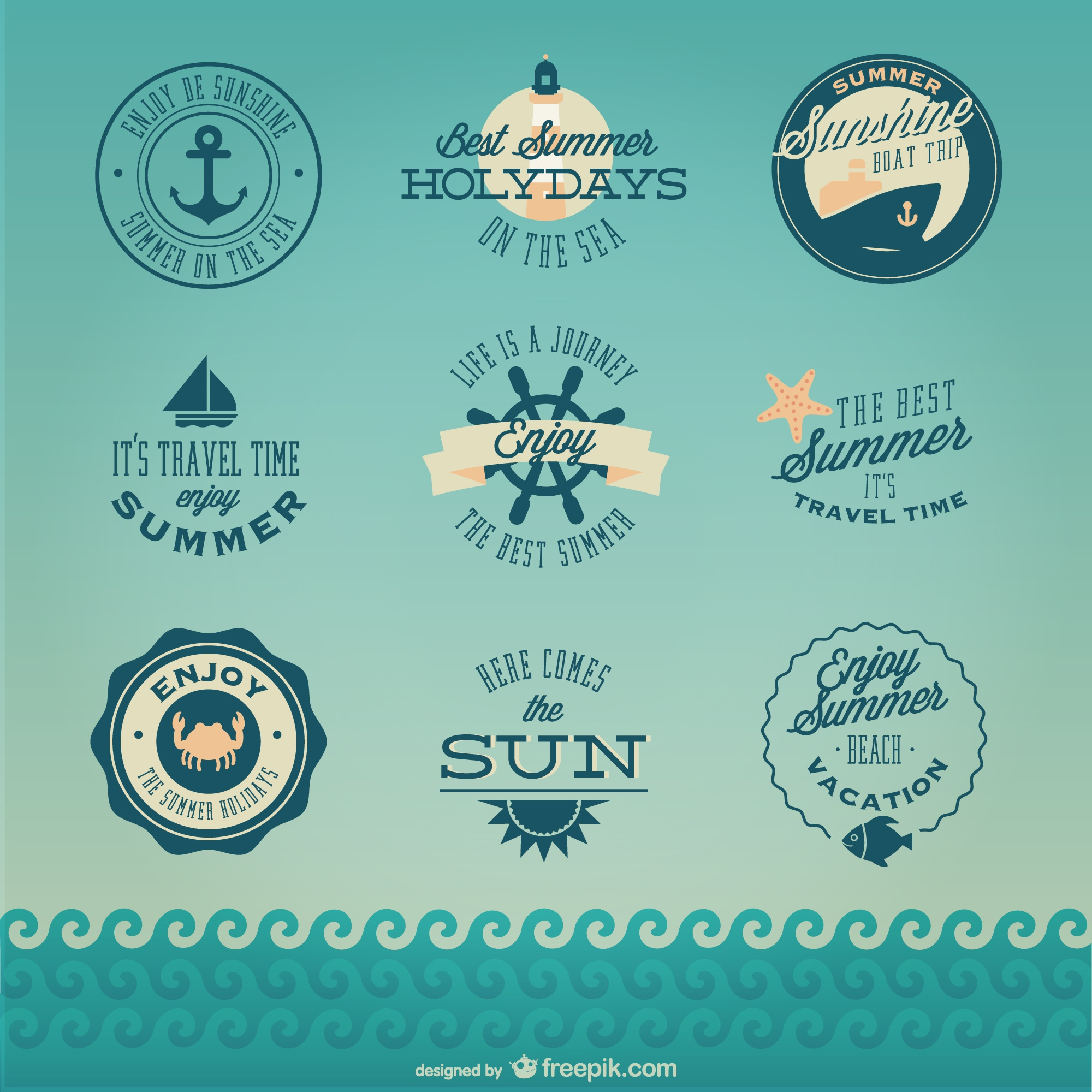 Retro nautical cruise badges