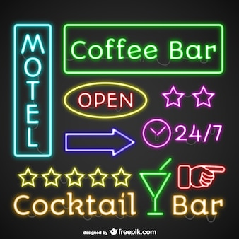 Retro neon lights signage