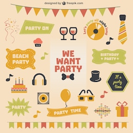 Retro party theme vector