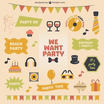Retro party theme vector