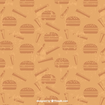 Retro pattern with burgers