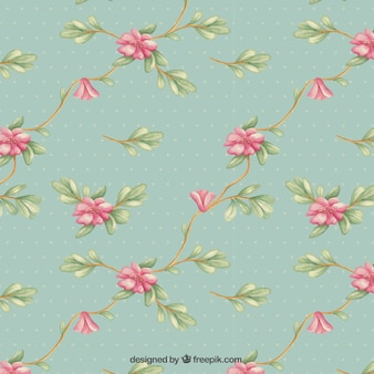 Retro pattern with flowers