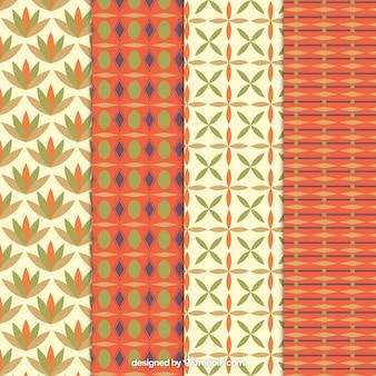 Retro patterns in orange and beige tones