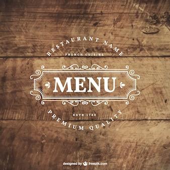 Retro restaurant badge on wood