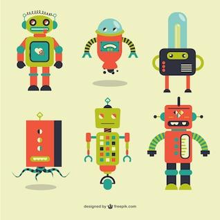 Retro robots vector elements