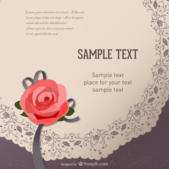 retro rose card text template vector material