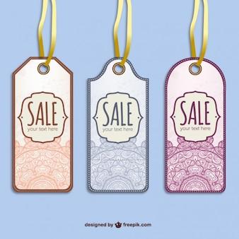 Retro sale tags vector set