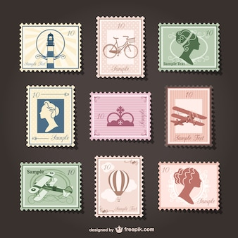 Retro stamps collage