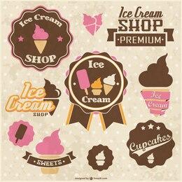 Retro stickers ice cream cupcakes design