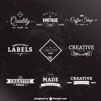 Retro style black and white labels