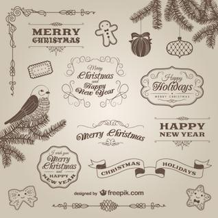 Retro style calligraphic Christmas elements