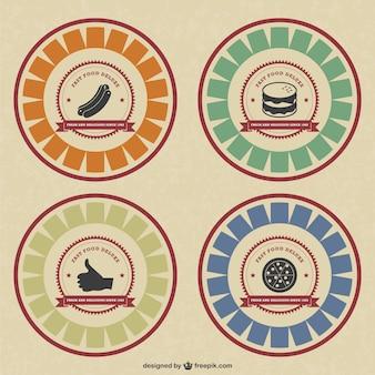 Retro style food badges