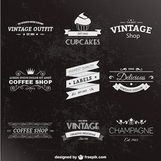 Retro style labels pack